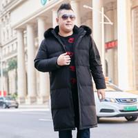 şişman erkek giyim toptan satış-Kış yeni 10XL erkek gelgit şişman uzun artı gübre diz kürk yaka aşağı ceket sıcak kış giysileri 160kg üzerinde artması