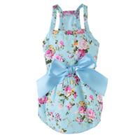 lindos arcos de perro al por mayor-Primavera y verano algodón lindo arco de impresión ropa para mascotas cinta princesa vestido ropa para perros suministros para mascotas