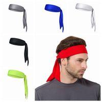 bandas para la cabeza que absorben el sudor al por mayor-Tie Back Headbands Deporte Yoga Gym Bandas para el pelo Correr al aire libre Unisex Head Wear Absorber sudor malla de bufanda ZZA398