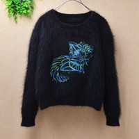 блуза длинный рукав корея оптовых-Korea vintage short style cute cat loose angora  fur crochet long sleeve mink knitted bottoming blouses pullover sweater