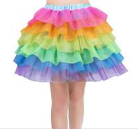 traje de faldas de ballet al por mayor-Niñas Niños Rainbow Tutu Falda Unicorn Party Tutus Baby Girls Cake 6 capa Pettiskirt Ballet Fancy Costume Tutu vestido de falda LJJK1528