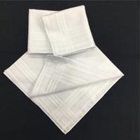 ingrosso asciugamani satinati-100% cotone fazzoletto bianco striscia di raso fazzoletto quadrato tovagliolo bianco maschio femmina cotone asciugamano sudore 40 * 40 cm