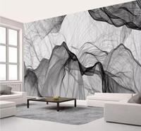 ingrosso carta da parati semplice bianca nera-Semplice bianco e nero TV sfondo muro moderna carta da parati per soggiorno