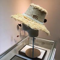 ingrosso cappello di paglia dell'oro delle signore-Spring Luxury Designer e New Retro oro intrecciato a testa piatta Straw Lady Wide Eaves Sunscreen Sun Summer Hat Cap