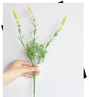 ingrosso fotografia di lavanda-Fiori artificiali Lavanda Bouque 3 teste con stelo Fiore di plastica Home Decor Bomboniere Fotografia Puntelli 14.9