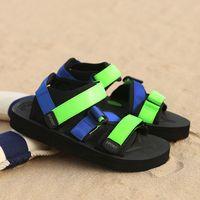 sandales décontractées couleur jaune achat en gros de-Couleur de la mode Hommes Sandales Jaune Bleu Vert Style Sport Plateforme Talon Plat Sandales Casual pour Hommes