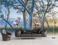 Wholesale beautiful oil paintings art for sale - Group buy 3d wallpaper custom photo mural European beautiful forest big tree elk oil painting background wall painting home decor wall art pictures
