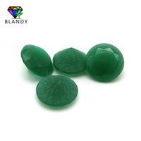glas schneiden großhandel-Mattgrüner Glasstein 2.25 ~ 5.0mm Rundschnitt Unpolierte Unterseite Malay Jades Farbe Glasperlen Synthetische Edelsteine Für Schmuck