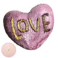 mejores fundas de almohada al por mayor-2019 Día de San Valentín Sirena de lentejuelas sirena amorosa almohada en forma de corazón colorido sofá en casa Cojín ropa de cama suministros funda de almohada mejor