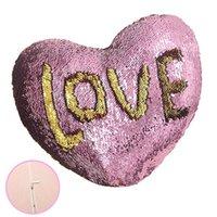 meilleures taies d'oreiller achat en gros de-2019 Valentine Day Mermaid Sequin Taie d'oreiller Aimer la couverture d'oreiller en forme de coeur Coloré La Maison Coussin Literie Fournitures Taie d'oreiller