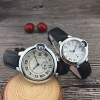 Wholesale famous brand wristwatches for men resale online - 2019 Hot Famous Luxury Watches Women Men Watch Roman Numerals Dial Leather strap Top Brand Ballon Quartz Wristwatches for Men Lady Clock