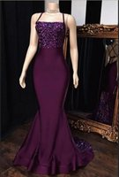 Wholesale puple prom dresses for sale - Group buy Puple Halter Satin Mermaid Long Prom Dresses Sequins Applique Backless Criss Cross Sweep Train Formal Evening Party Gowns