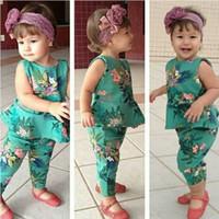 vestidos de tutú verde al por mayor-Niñas de diseñador de bebé trajes de boutique ropa de niña de primavera color floral estampado completo niñas vestido verde Tops niños estampado de flores pp