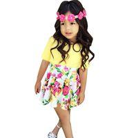 ingrosso ragazza gialla camicia-OLEKID Summer Girl Clothing Set Gonne floreali + T-shirt gialla Vestiti per bebè bambina 1-4 anni Tuta bambina