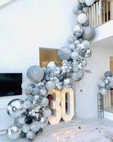 balon ballon toptan satış-108 adet Mermer Akik Balonlar Çelenk Kiti Siyah Beyaz Gri Balon Kemer Konfeti Ballon Doğum Günü Düğün Bebek Duş Parti dekor