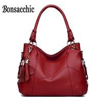 cuero rojo hobo bolsos al por mayor-Bonsacchic Red Mujer Bolsos de cuero Mujer Hobos Bolsos Bolsos de diseño Bolso de mano negro de alta calidad para mujer bolsa feminina # 173413