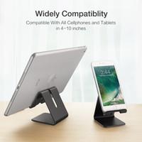 soporte de aluminio para ipad al por mayor-Soporte metálico de aluminio para teléfono, soporte para teléfono, universal, antideslizante Soporte para escritorio, para iPhone, iPad, tableta Samsung