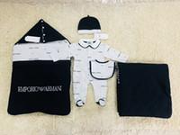 trajes de bebé calientes al por mayor-Saco de dormir para bebé + manta + traje de mono Traje recién nacido Conjunto cálido de 5 piezas