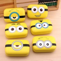 Wholesale cute lens cases resale online - LIUSVENTINA Leather High Quality Cute Yellow Men Lovely Expression Contact Lens Case with Mirror for Color Lenses Gift for Girls