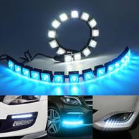esnek drl toptan satış-DRL Oto Esnek Şerit LED Sürüş Araç Styling Running Araç COB 14LED DRL Sürüş Sis Işık Esnek Gündüz