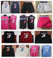 ingrosso pallacanestro jersey rosa-NCAA Wholesale 2019 New Men 3 # Dwyane Wade City maglia cucita Wade maglie da basket Bianco Nero Blu pantaloncini rosa ricamo Wade camicia