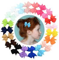 Wholesale hair bow girl grosgrain resale online - 5 cm Kids Barrettes Baby Hair Bows Barrettes Girls Boutique Bow Hair Clip Grosgrain Ribbon colors Bowknot Hair Clips GGA2328