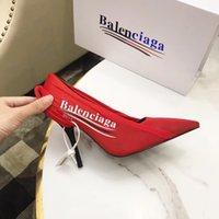 europäische stil kleid schuhe frauen großhandel-Europäischen und amerikanischen Stil schwarze und rote Mode Damen High Heels hochwertige gedruckte Damenschuhe Ledersohlen Kleid Schuhe mit Box