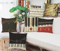 vintage retro pillowcases toptan satış-Müzik Piyano Baskılı Yastık Kılıfı Retro Not Minder Kapak Pamuk Keten Yaratıcı Vintage Müzikal Notlar Dekoratif Yastık Kılıfı