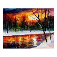 Wholesale oil landscapes painting knives for sale - 30x40 Pallet knife Canvas oil painting hand painted forest path living room sofa background wall decoration painting European painting
