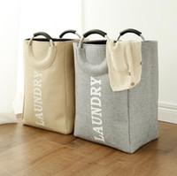 cestas para ropa sucia al por mayor-Cesto para ropa con asas de aluminio Lona plegable impermeable Cesto para ropa Cesta de almacenamiento plegable Cesta de ropa sucia