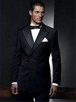 casaco preto venda por atacado-Tailor Made Black Double Breasted Noivo Smoking 2 Peças Slim Fit Mens Casamento Prom Jantar Ternos Jaqueta + Calça blazer masculino