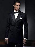 özel balo kıyafetleri toptan satış-Terzi Siyah Kruvaze Damat Smokin 2 Parça Slim Fit Erkek Düğün Balo Yemeği Ceket + Pantolon Suits blazer masculino