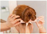 neue haare brötchenhersteller großhandel-Mode Frauen Haarschmuck Neue Locken Brötchen Stirnband Hair Maker Magic Hair Making Tool Band Bowknot Brötchen-hersteller Neue