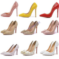 Wholesale red bottom shoes for ladies resale online - hot brand shoes red sloe women pumps high heel shoes rivet pointed toe fine heel lady wedding shoes bottom for the red cm cm cm