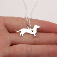 Wholesale doggy gifts for sale - Group buy Dainty Dachshund Necklace Doxie Sausage Dog Memorial Gift Puppy Doggy Pet Necklaces Pendants Delicate Women Animal Charm