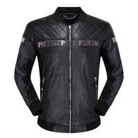 ingrosso cuoio di tendenza degli uomini-2020 Nuovo lusso maschile giacca di pelle giacca ricamata con cerniera di tendenza di marca cappotto del rivestimento degli uomini di modo di pelle di formato M-XXXL