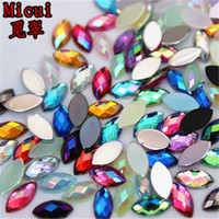 Micui 500pcs 4*8mm Mix Color Horse eye Rhinestones Flat Back Acrylic Gems Crystal Stones Non Sewing Beads for DIY Clothes ZZ730