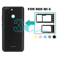adaptador de doble ranura al por mayor-Para Xiaomi Redmi 6 Adaptador del soporte de la bandeja de la tarjeta SIM dual Redmi6 Nano-SIM / Micro SD Ranura de la tarjeta TF Reemplazo Reparación Repuestos
