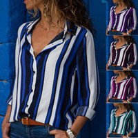 Wholesale black shirt blouse for sale - Women Striped V neck Long Sleeve Blouse Girls Loose Casual Tops Multicolors Lady Contrast Color Shirts LLA147