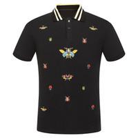 новые мужские рубашки поло оптовых-High New Novelty 2018 Men Embroidered beetle bees Fashion Polo Shirts Shirt Hip Hop Skateboard Cotton Polos Top Tee #F71