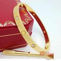 elmas bilezikleri toptan satış-Gül Altın Gümüş Paslanmaz Çelik erkek Tornavida elmas buzlu zincirleri lüks tasarımcı Aşk takı kadın erkek bilezikler bileklik 2019