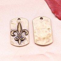 machen fleur lis charm großhandel-4pcs Charme Lilie Hundemarke Heiligen 28x17mm Antik machen Anhänger fit, Vintage tibetische Bronze, DIY Armband Halskette
