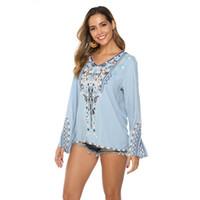nakışlı gömlek bluz toptan satış-Kadın Casual Üstler Meksika Rahat Fit Köylü Bluz Meksika Uzun Kollu V Yaka Pamuk Bluzlar Gevşek Gömlek İşlemeli