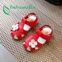 niedliche rote sandalen baby mädchen großhandel-Bekamille Sommer Kinderschuhe Für Mädchen Nette Blume Baby Sandalen Kinderschuhe Mädchen Sandalen Kleinkind Baby rot rosa weiß