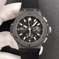 Wholesale black crystal gems for sale - Group buy V6 multi function automatic mechanical movement HUB4100 table by MM microbead sand blasting black ceramic anti dazzle sapphire crystal tab