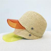 желтые snapbacks оптовых-Женщины соломенная шляпа пляжная бейсболка прозрачная пленка Brim Snapbacks весна и лето солнцезащитный крем купол желтый оранжевый 24xs C1