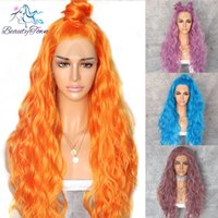 Wholesale orange yellow wigs for sale - Group buy Beautytown Orange Yellow Natural Curly Wave Heat Resistant Hair Women Makeup Wedding Party Gift Synthetic Lace Front Daily Wigs Y190717