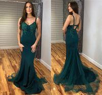Wholesale elegant fitted dresses for sale - Group buy Elegant Mermaid Evening Dresses V Neck Sleeveless Appliques Fitted Arabic Formal Prom Gowns Sweep Train Vestidos De Festa