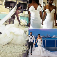 Wholesale african wedding dress make for sale - Group buy Arabic Design Mermaid African Wedding Dresses Cathedral Train Plus Size Ruffles Tulle Nigeria Trumpet Bridal Gowns Vestido De Noiva