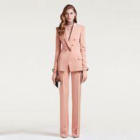 kadın için uygun ofis toptan satış-Kadın Iş Takım Elbise Kruvaze Kadın Ofis Üniforma Bayanlar Resmi Pantolon Takım Elbise Et Pembe 2 Parça Set